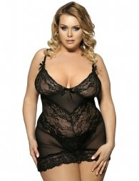 Transparent Embroidered Lace Black Plus Size Babydoll