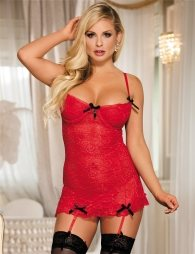 Lace Ribbon Trim Soft Red Lingerie Set