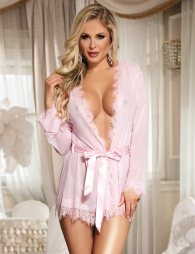 Pink Sexy Sheer Lace Trim Robe With G-String