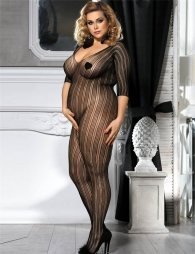 Plus Size Black bodystocking with sleeves and opening on crotch