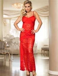 Lace Cross Open Back Red Long Dress
