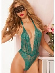 Green Floral Lace Teddy With Eye patch