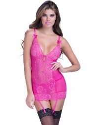 Rose Sexy Lace Garter Chemise