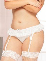 Plus Size White Garter Belt
