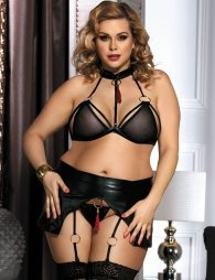 Plus Size Boudoir Flirty Black Bra Set