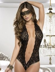 Low Cut Lace Teddy With Gold Trim