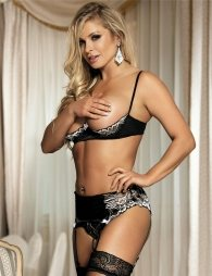 3 Piece Open Bust Bra Set With Garter Panty