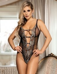Halter Teddy With Black Lace Embroidery