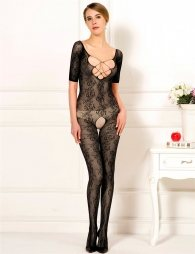 Black bodystocking with sleeves