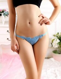 Blue g thong with a lace cardigan design