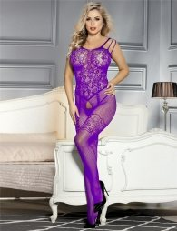 Purple Strappy Shoulder Open Crotch Bodystocking