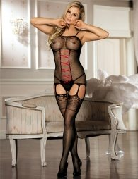 Fishnet Black Red Croch Front Bodystocking