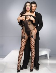 Balck Sexy Fishnet Open Up Off Shoulder Bodystocking