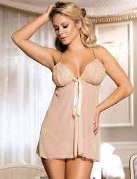 Nude Plus Size Apricot Elegant Babydoll