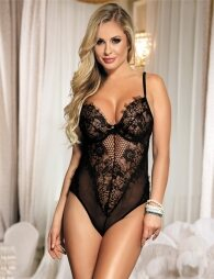 Plus Size Black Chic Kissable Backless Teddy With Underwire
