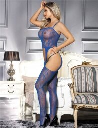 Blue Crotchless Fishnet Bodystocking