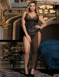 Plus Size Black lace elegant babydoll