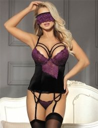 Purple Lace Bustier Sexy Lingerie Set With Bra Rim