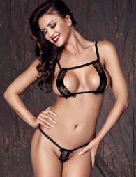 Black lace erotic bra set