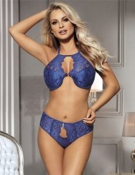 Lace Rim Keyhole Blue Bra Set With Bra Pad