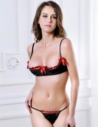 Black Bra Set with Red Details