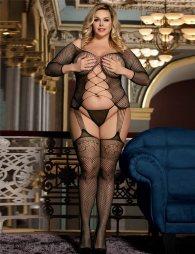 Plus Size Black Fishnet Croch Front & Back Bodystocking