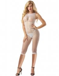 3 Quarter Length White Fishnet Bodystocking