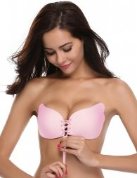 Strapless Self Adhesive Pink Silicone Invisible Push-up Bra