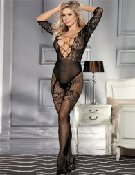 Abstract Pattern Scoop Back Bodystocking