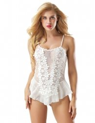 White Stereoscopic Flower Hollow-out Lace Babydoll