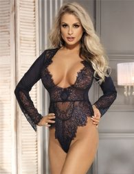 Blue Exquisite Lace Sleeve Teddy