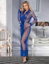Blue Delicate Lace Long Sleepwear Gown