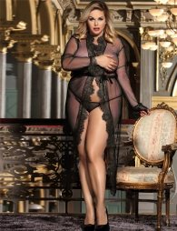 Plus Size Black Delicate Lace Long Sleepwear Gown
