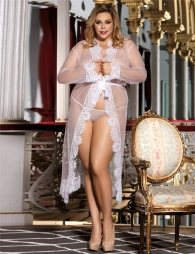 Plus Size White Delicate Lace Long Sleepwear Gown