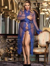 Plus Size Blue Delicate Lace Long Sleepwear Gown