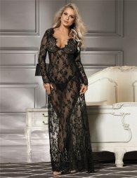 Delicate Black Lace Long Sleepwear Gown