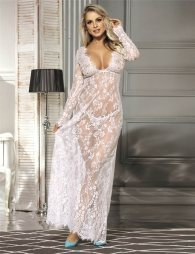 White Lace Long Sleeve Sleepwear Gown