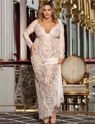 Plus Size White Delicate Lace Long Sleepwear Gown