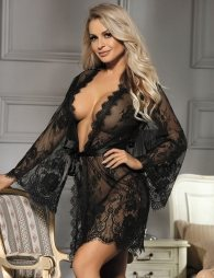 Black Lace Eyelash Sleepwear Gown