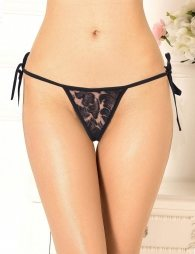 Sexy Black Lace-up Floral Panty