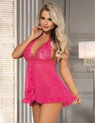 Pink Sheer Mesh Halter Lace Lingerie Set