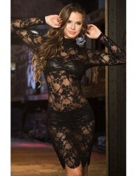 High Neck Black Lace Long Sleeve Lingerie Set