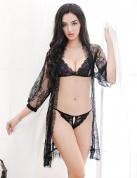 Eyelash Black Lace Sleepwear Lingerie Set
