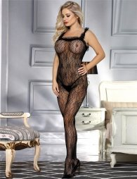 Black Bodystocking with Printing Pattern
