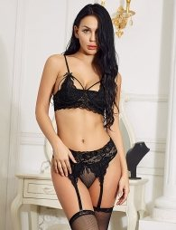 Black Deluxe Lace Bra Set
