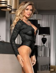 Black Eyelashes Lace Open-chest Long-sleeved Teddy