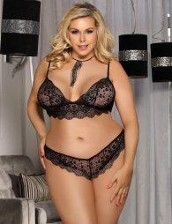 Plus Size Black Lace Temptation 2pcs Bralette Lingerie Set