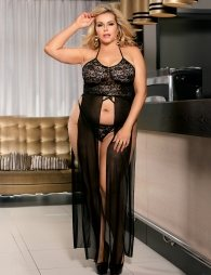 Plus Size Elegant Black Hollow Out Lace Sexy Gown