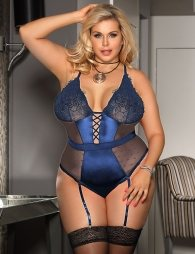 Plus Size Blue Deluxe Satin Lace Stitching Teddy