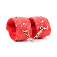 Red SM Bondage Sex Leather Handcuffs